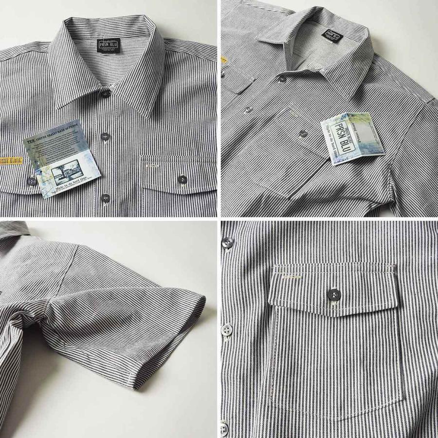 プリズンブルース PRISON BLUES 半袖 8オンス ヒッコリーストライプ ワークシャツ アメリカ製 米国製 HICKORY STRIPE WORK SHIRT jalana 06