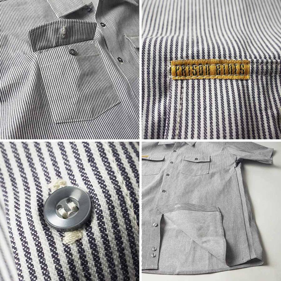プリズンブルース PRISON BLUES 半袖 8オンス ヒッコリーストライプ ワークシャツ アメリカ製 米国製 HICKORY STRIPE WORK SHIRT jalana 07