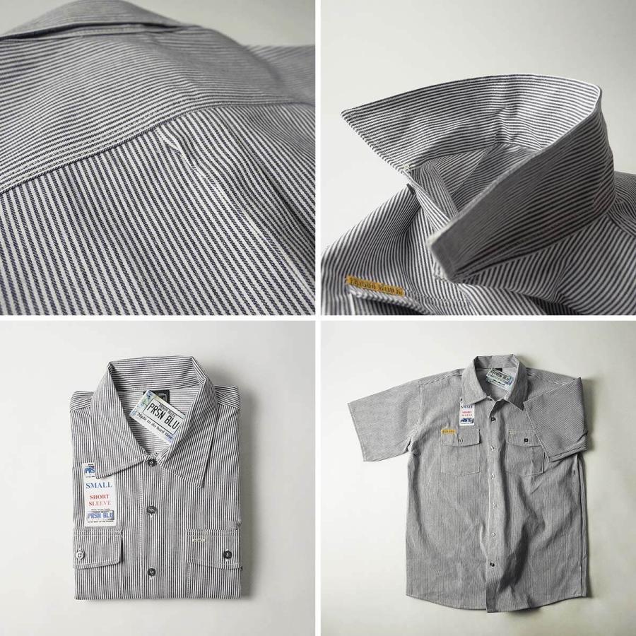 プリズンブルース PRISON BLUES 半袖 8オンス ヒッコリーストライプ ワークシャツ アメリカ製 米国製 HICKORY STRIPE WORK SHIRT jalana 09