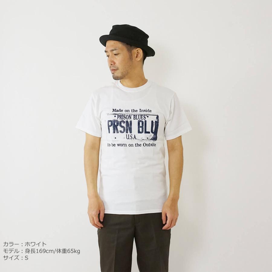 プリズンブルース PRISON BLUES 半袖 USA プレートロゴ TシャツプリントTシャツ USA PLATE LOGO T-SHIRTS|jalana|02