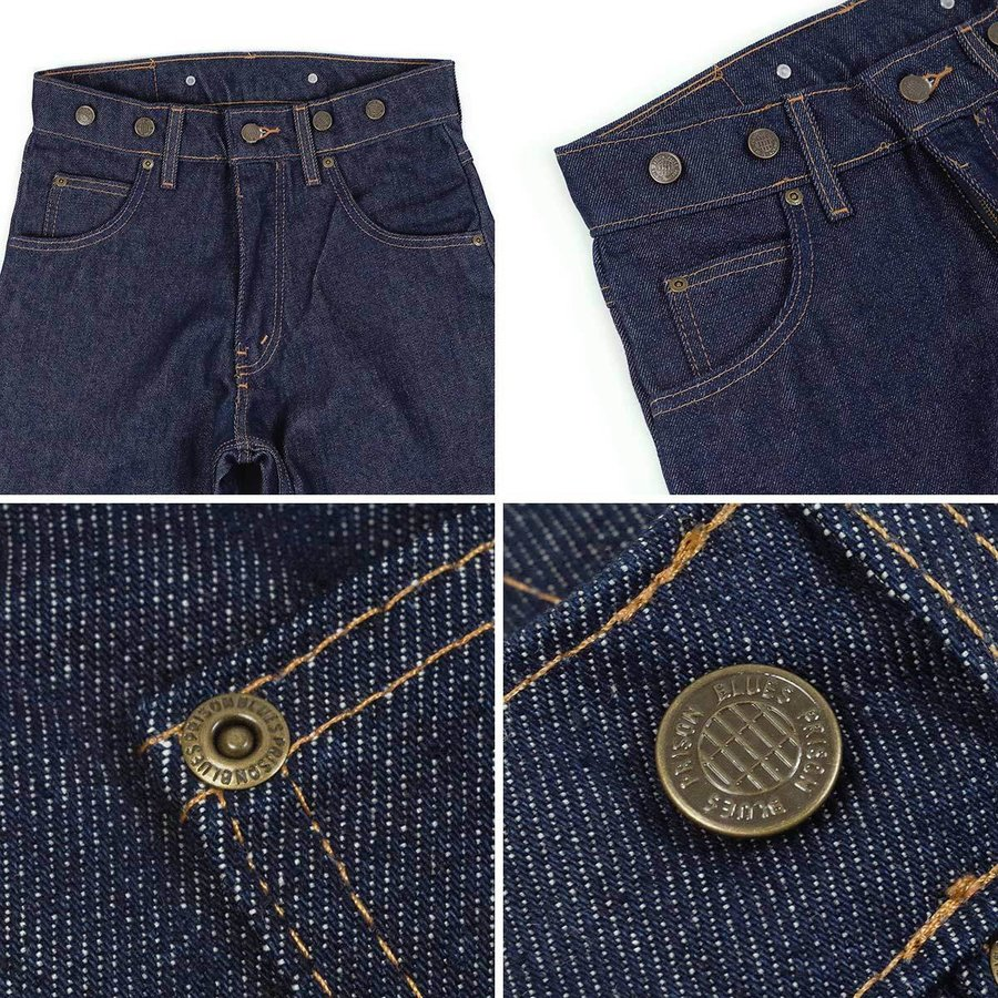 プリズンブルース PRISON BLUES ワークジーンズ サスペンダーボタン リジッドブルー アメリカ製 米国製 デニム ペインターパンツ   MADE IN USA メンズ ハンド jalana 04