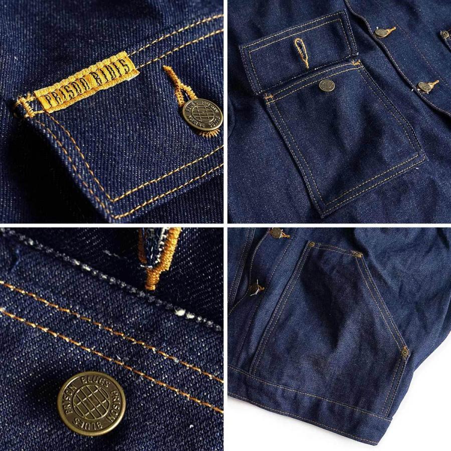 プリズンブルース PRISON BLUES デニムヤードコート リジッドブルー 別注レッドフォックスステッチ アメリカ製 米国製 カバーオール   MADE IN USA メンズ ハン jalana 06