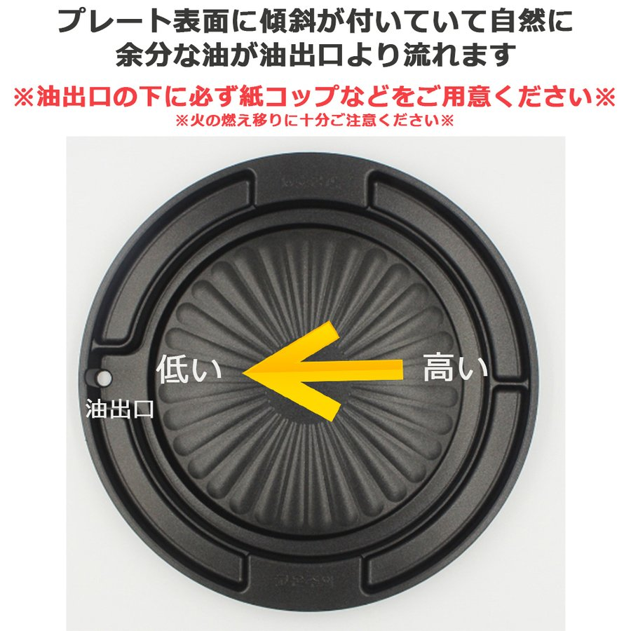 サムギョプサル 鉄板 焼肉 プレート 仕切り付き 直火用 フッ素コーティング 斜め 30cm|jaloshop|03