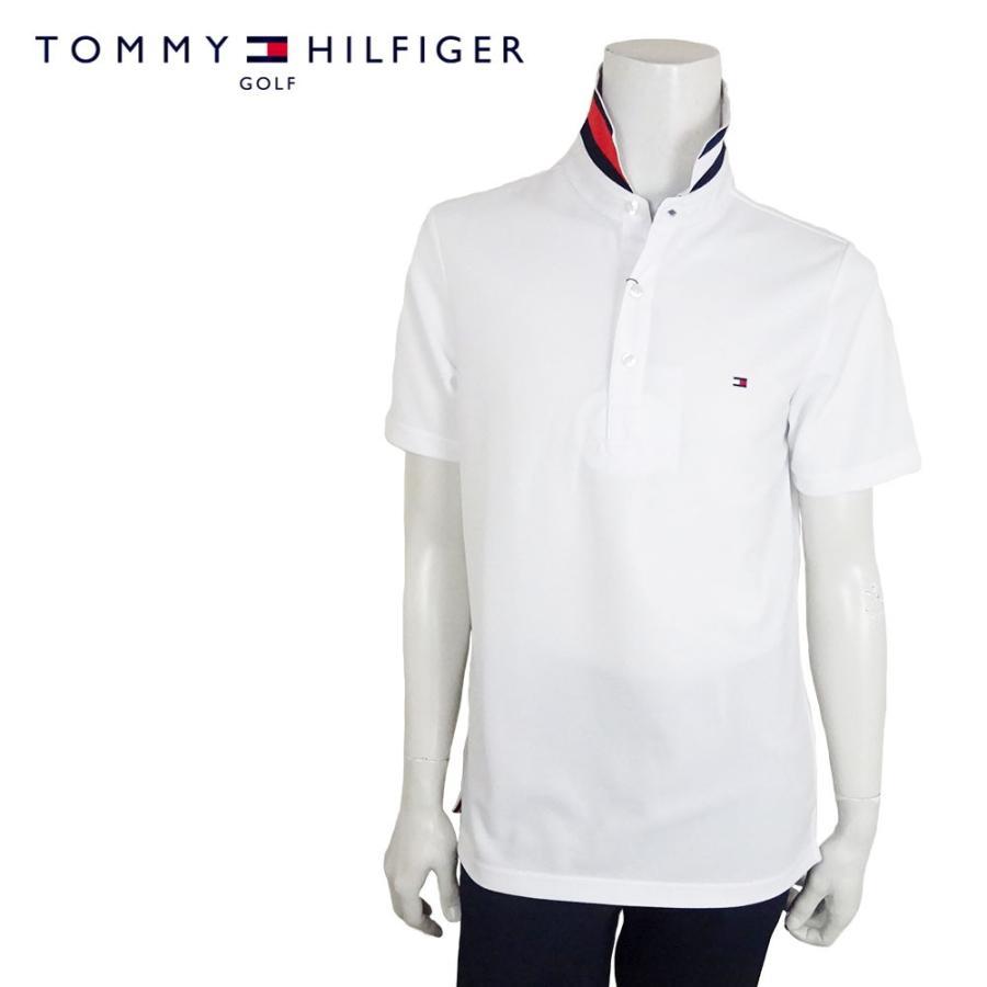 TOMMY HILFIGER GOLF トミーヒルフィガー ゴルフ ベーシック フラッグ ポロシャツ THMA954 BASIC FLAG POLO SHIRT ホワイト 鹿の子 半袖 ネコポス対応 メール便