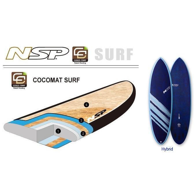 【おすすめ】 NSP surfboards  品番 CocoMat Hybrid Bule 6'4