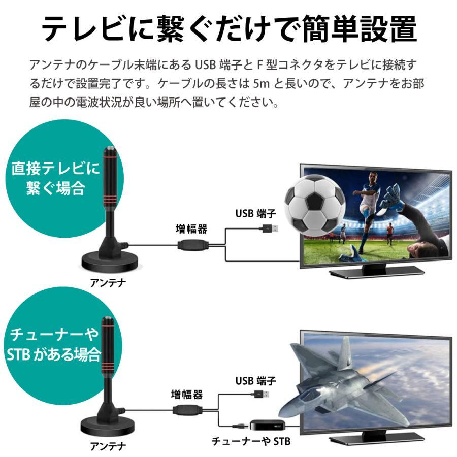 室内アンテナ テレビアンテナ ポータブル 4K HD TV デジタル ブースター 高性能受信 120KM受信範囲 アンテナケーブル5m 車載 地デジ専用 UHF VHF USB式 設置簡単|janri|03