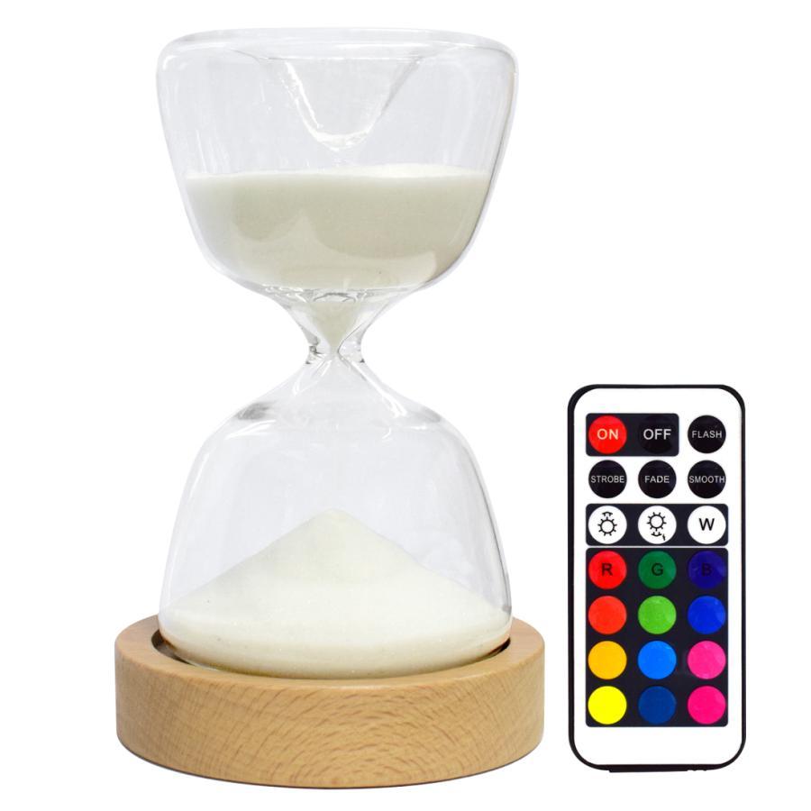 砂時計ライト LED 15分計 砂時計 インテリア 間接照明 USB充電式 12色切替 明るさ調節可能 リモコン付き プレゼント 人気 janri