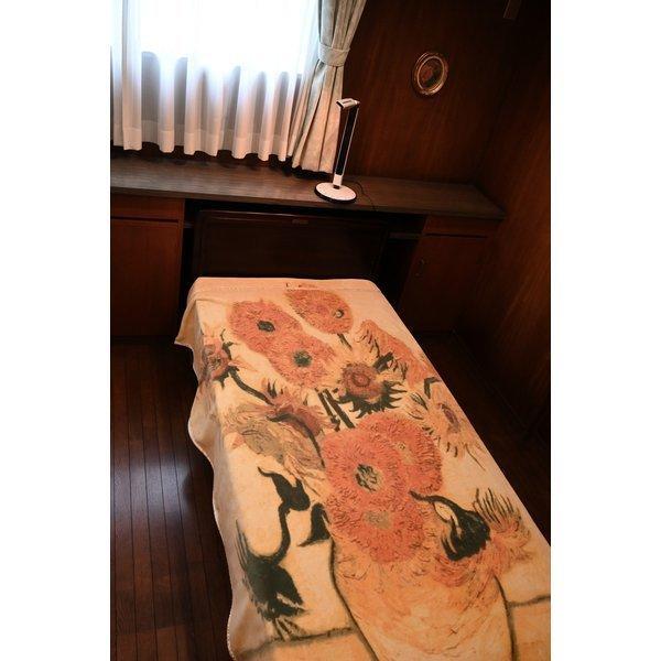 SALE ゴッホ ひまわり 綿毛布 日本製 メーカー直販 抗菌防臭 シングル アート コットンブランケット(毛羽部分)|japan-blanket|11