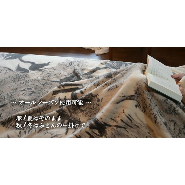 SALE ゴッホ ひまわり 綿毛布 日本製 メーカー直販 抗菌防臭 シングル アート コットンブランケット(毛羽部分)|japan-blanket|08