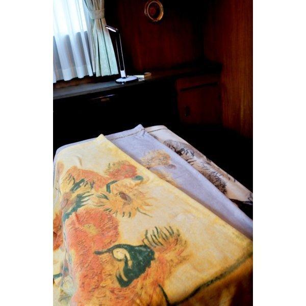 SALE ゴッホ ひまわり 綿毛布 日本製 メーカー直販 抗菌防臭 シングル アート コットンブランケット(毛羽部分)|japan-blanket|10