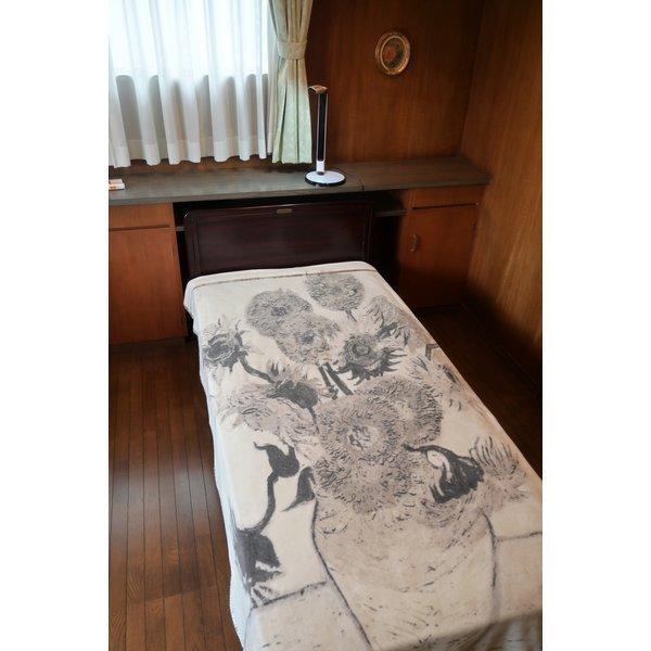 SALE ゴッホ ひまわり 綿毛布 日本製 メーカー直販 抗菌防臭 シングル アート コットンブランケット(毛羽部分)|japan-blanket|13