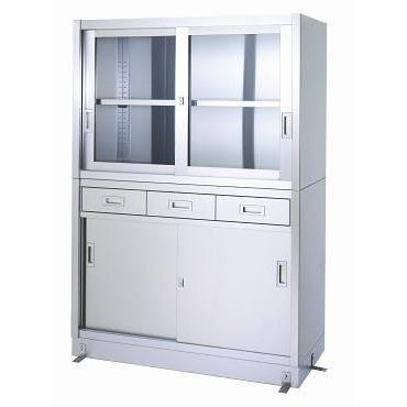 シンコー 保管庫(ベース付) VDG型(引出・上ガラス戸・下ステンレス戸)2段式 SUS430 VDG-12045 幅1200×奥行450×高さ1750(mm)