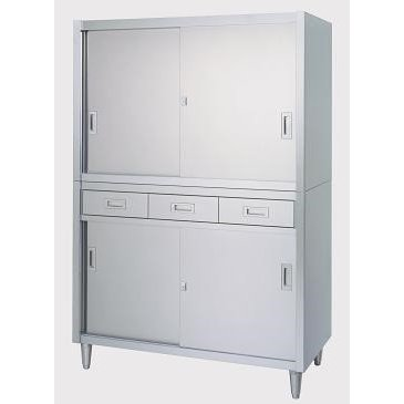 シンコー 保管庫(アジャスト付) VAD型(引出・上下ステンレス戸)2段式 SUS430 VAD-18045 幅1800×奥行450×高さ1750(mm)