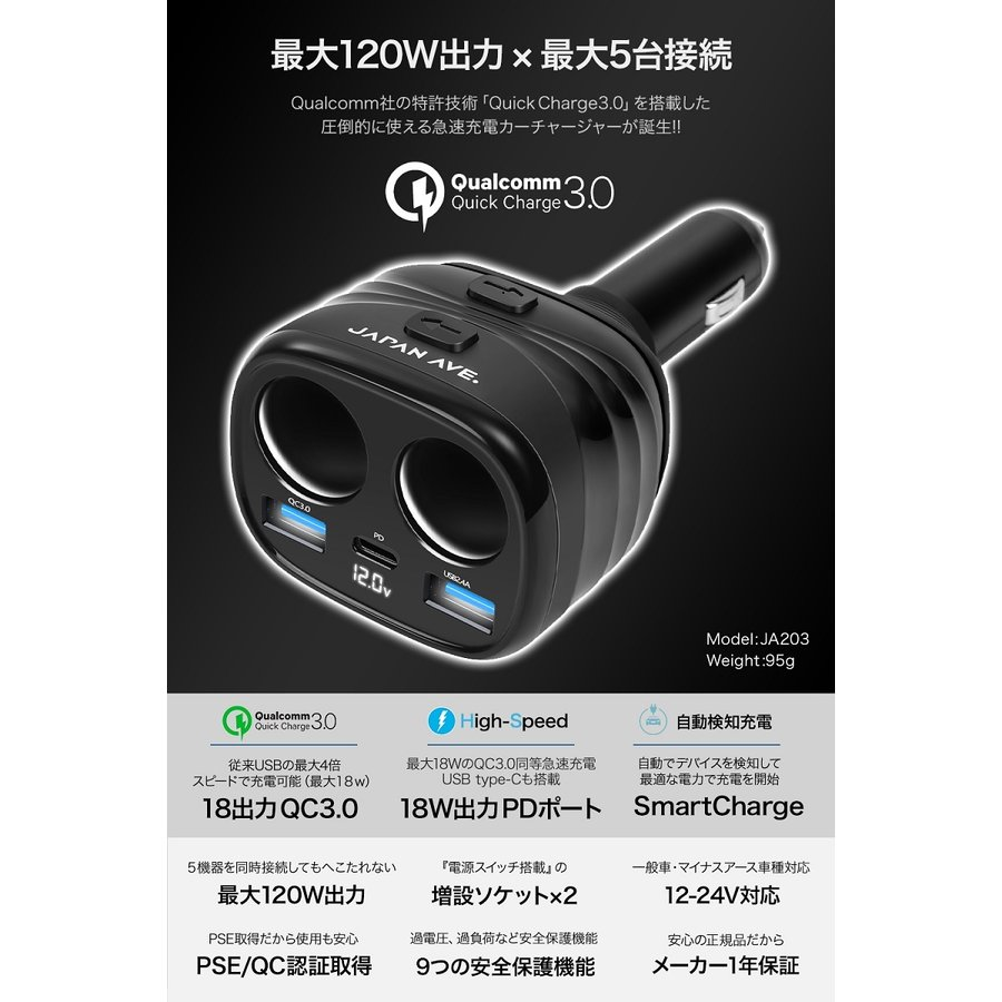 Quick Charge 3.0 カーチャージャー 増設 シガーソケット 2連 急速 type-c USB PD 延長 車載 車 充電器|japanave-y-shop|03