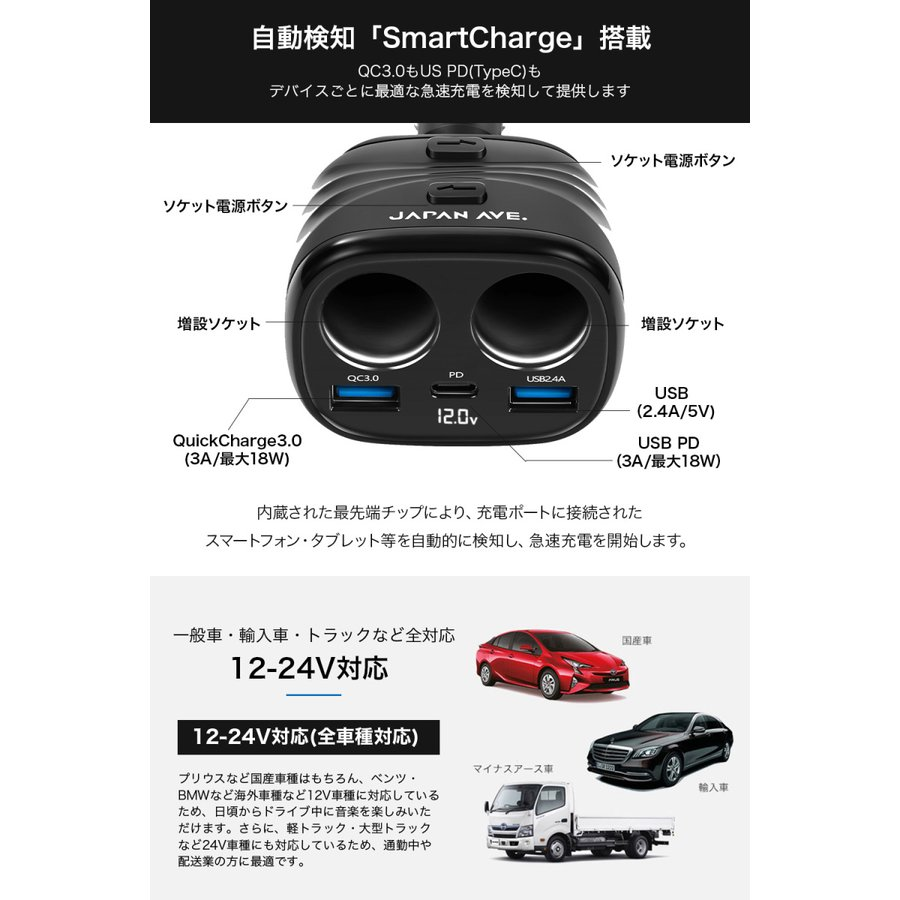 Quick Charge 3.0 カーチャージャー 増設 シガーソケット 2連 急速 type-c USB PD 延長 車載 車 充電器|japanave-y-shop|07