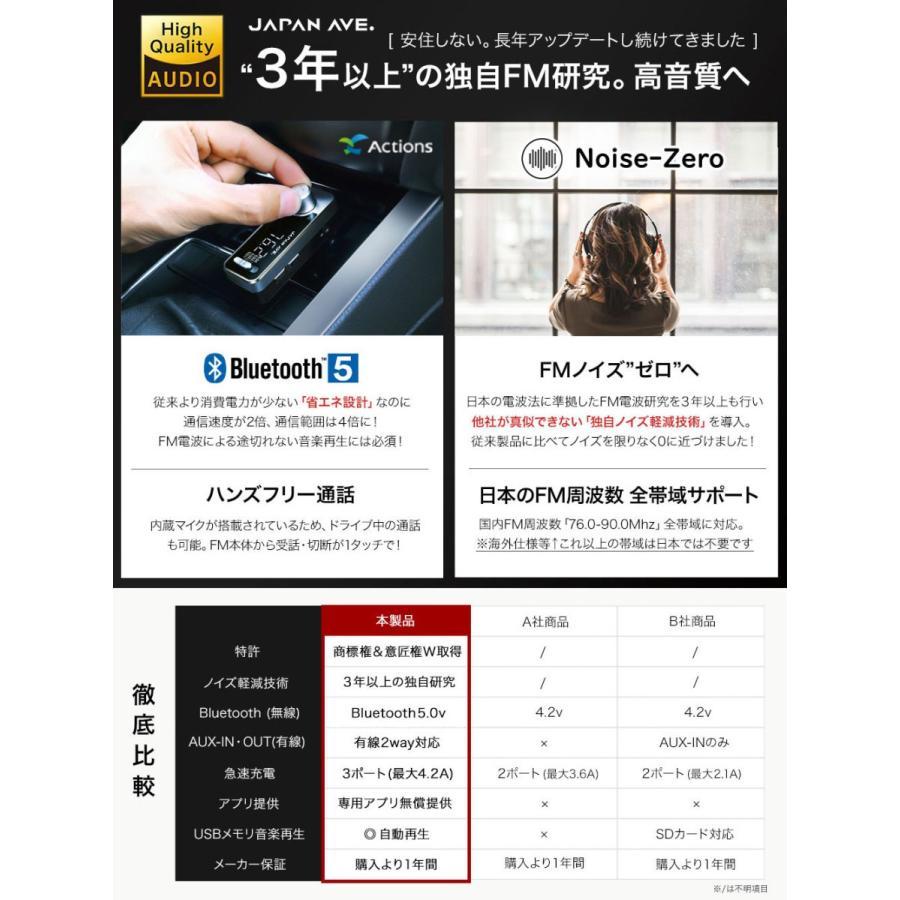 FMトランスミッター Bluetooth 5.0 iphone fmトランスミッター 高音質 USB ブルートゥース japanave-y-shop 06