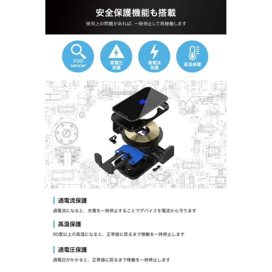 スマホホルダー 車載ホルダー 自動開閉 携帯 車 車載 ワイヤレス充電 Qi スマートフォン自動開閉式 センサー スマホ スタンド ワイヤレス 充電器 吸盤 iPhone japanave-y-shop 13