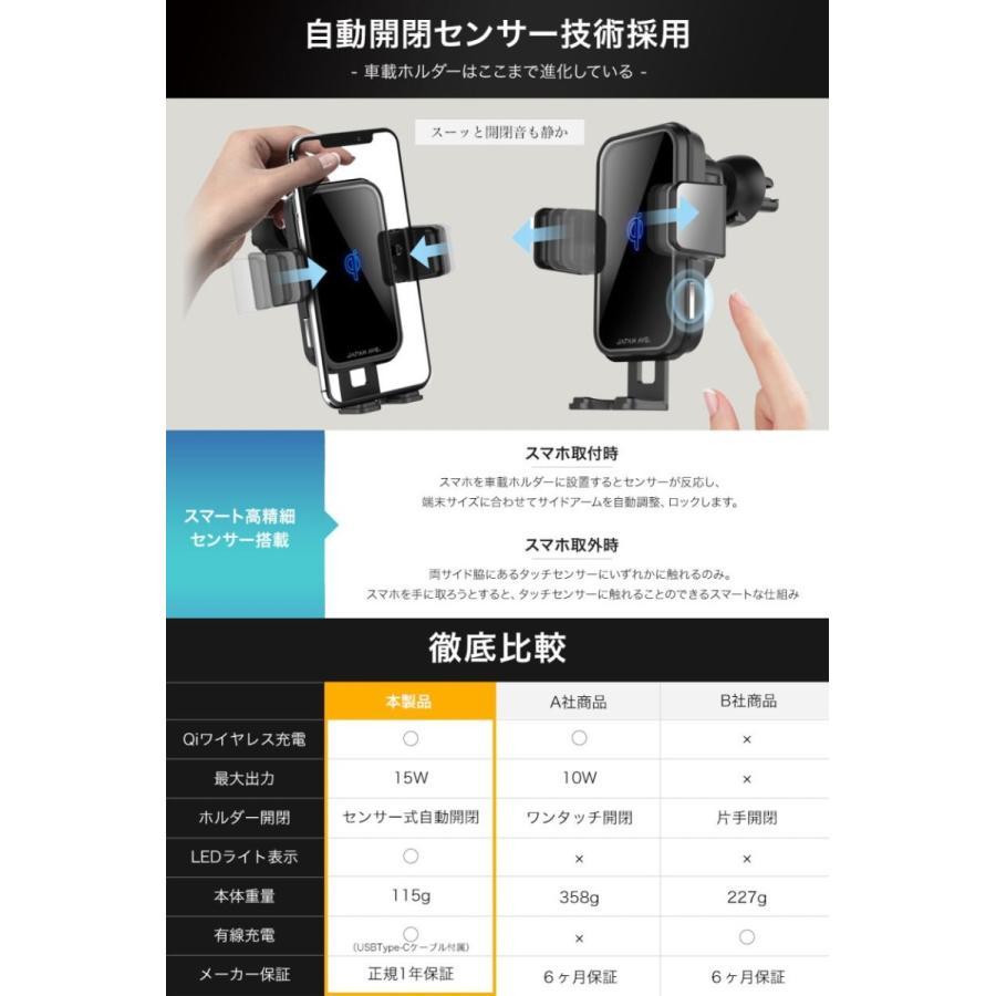 スマホホルダー 車載ホルダー 自動開閉 携帯 車 車載 ワイヤレス充電 Qi スマートフォン自動開閉式 センサー スマホ スタンド ワイヤレス 充電器 吸盤 iPhone japanave-y-shop 06