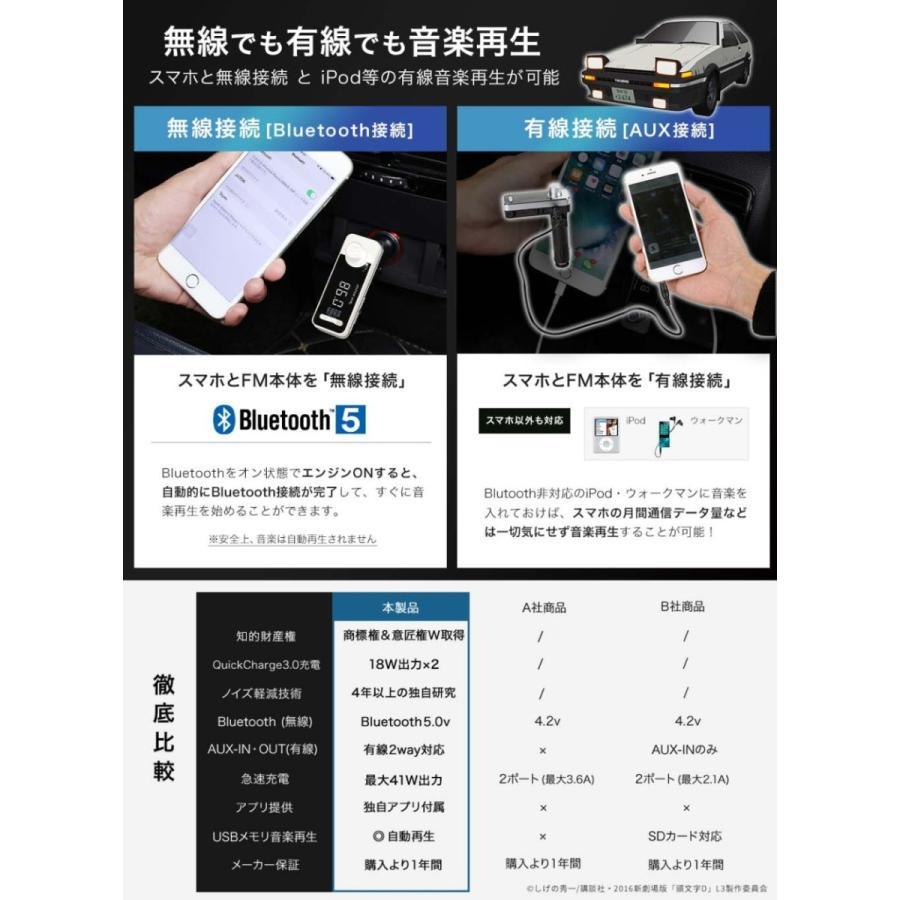 頭文字D コラボ FMトランスミッター ハチロク藤原とうふ店モデル Bluetooth 5.0 高音質 iphone カーチャージャー シガーソケット JAPAN AVE. USB|japanave-y-shop|10