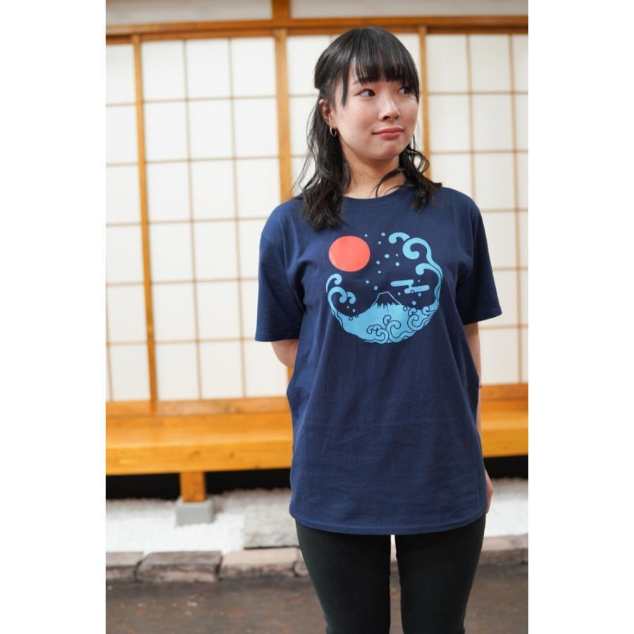 アウトレット・和柄Tシャツ-富士山-紺色/Mサイズ/半袖/メンズ/レディース/ユニセックス|japanesestandard|02