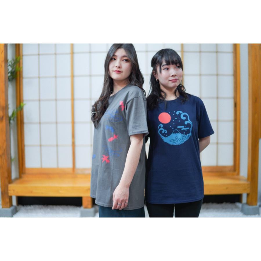 アウトレット・和柄Tシャツ-富士山-紺色/Mサイズ/半袖/メンズ/レディース/ユニセックス|japanesestandard|05