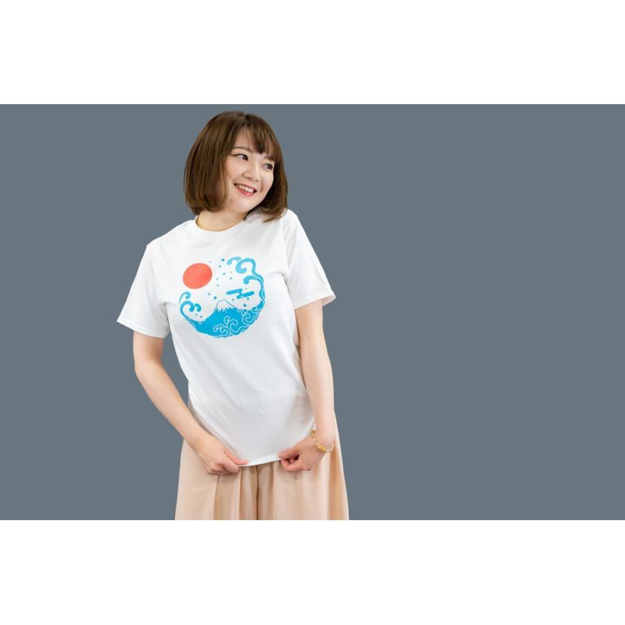 アウトレット・和柄Tシャツ-富士山-白色/XSサイズ/半袖/メンズ/レディース/ユニセックス japanesestandard