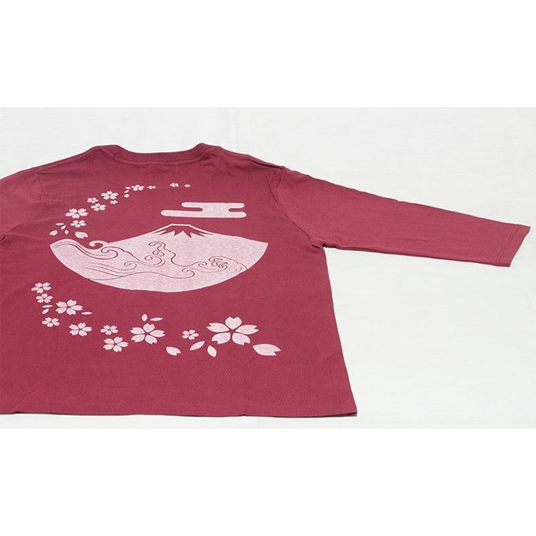 アウトレット・和柄Tシャツ(富士山・桜)/茜/サイズM/5部丈メンズ/レディース/ユニセックス(男女兼用)|japanesestandard