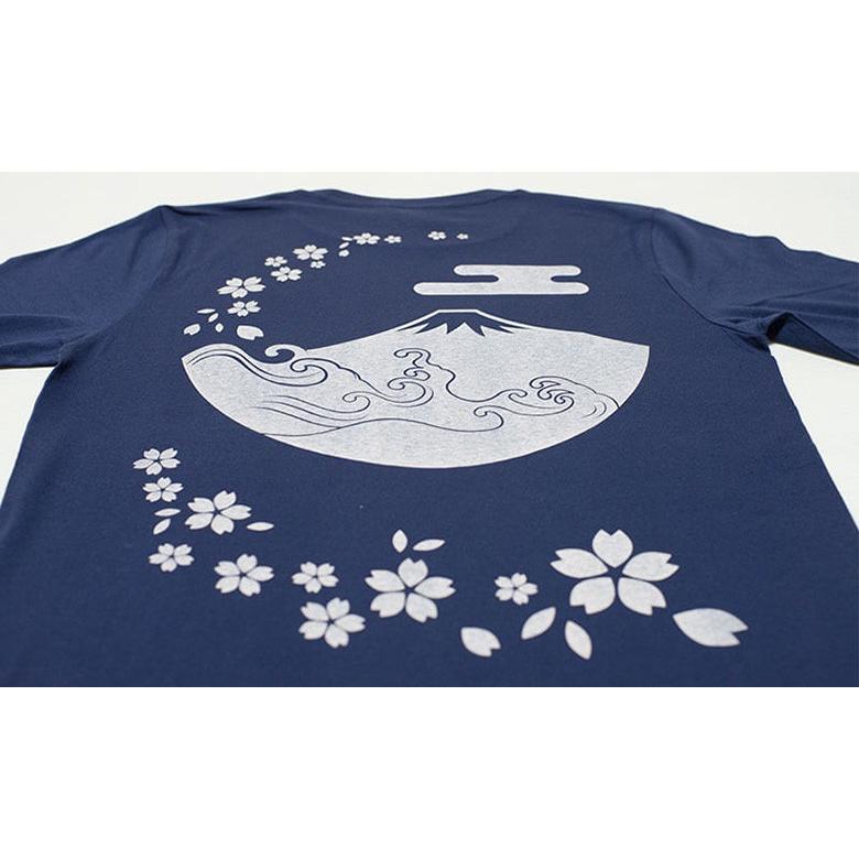 アウトレット・和柄Tシャツ(富士山・桜)/紺/サイズM/5部丈メンズ/レディース/ユニセックス(男女兼用)|japanesestandard|03