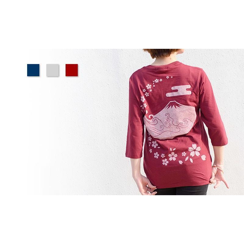 アウトレット・和柄Tシャツ(富士山・桜)/紺/サイズM/5部丈メンズ/レディース/ユニセックス(男女兼用)|japanesestandard|04