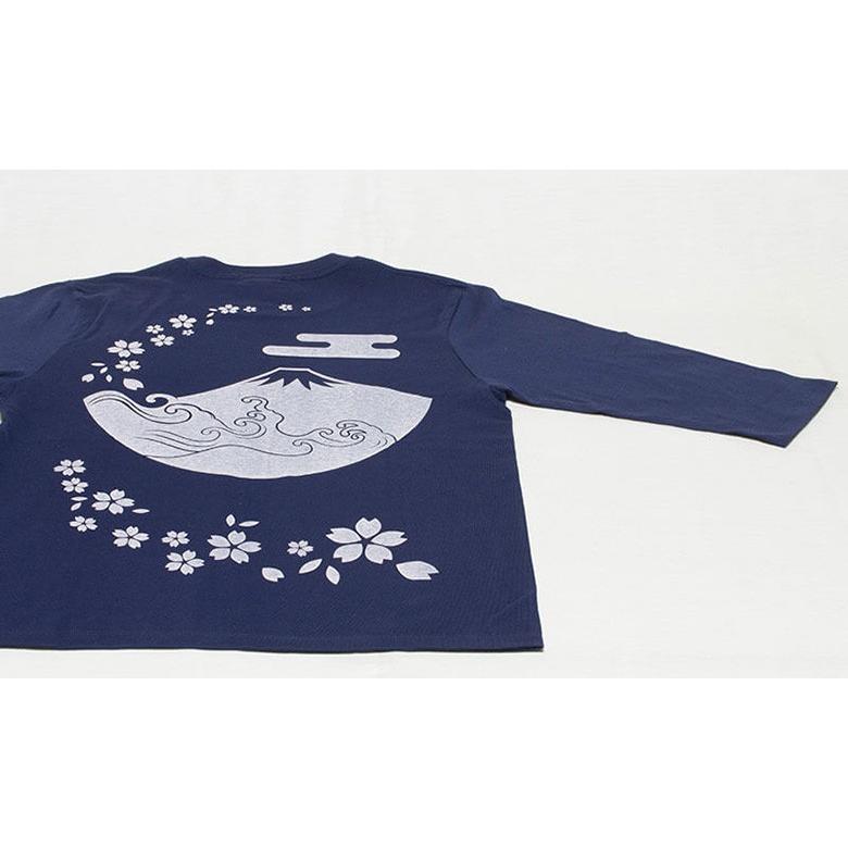 アウトレット・和柄Tシャツ(富士山・桜)/紺/サイズS/5部丈メンズ/レディース/ユニセックス(男女兼用) japanesestandard