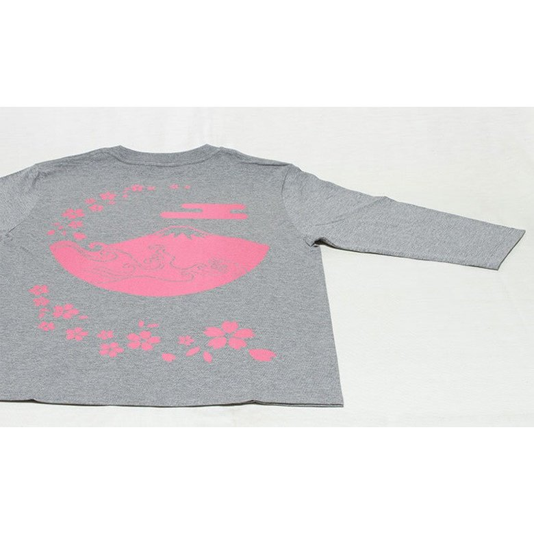 アウトレット・和柄Tシャツ(富士山・桜)/薄墨/サイズS/5部丈メンズ/レディース/ユニセックス(男女兼用)|japanesestandard