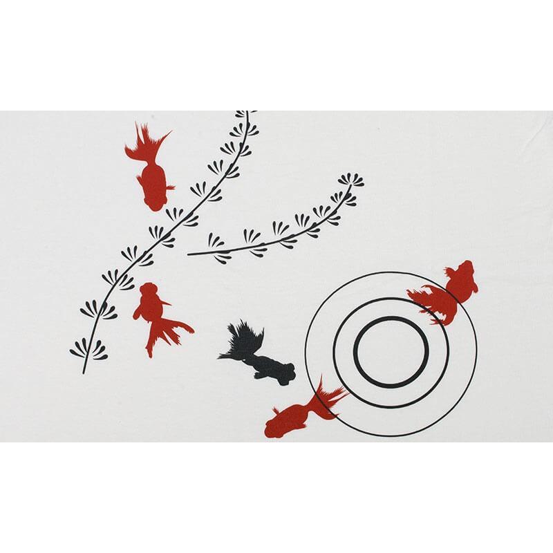 アウトレット・和柄Tシャツ-金魚-白色/Lサイズ/半袖/メンズ/レディース/ユニセックス japanesestandard 03