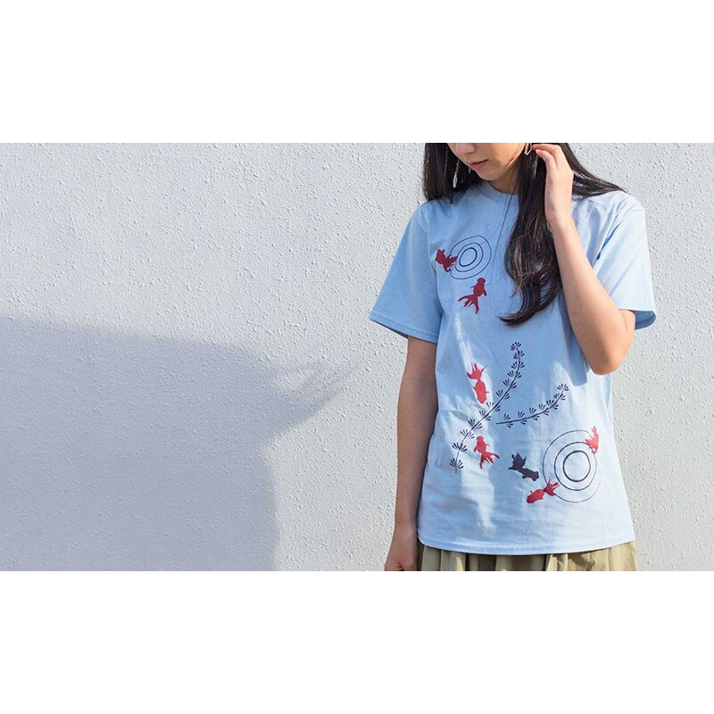 アウトレット・和柄Tシャツ-金魚-白色/Lサイズ/半袖/メンズ/レディース/ユニセックス japanesestandard 04