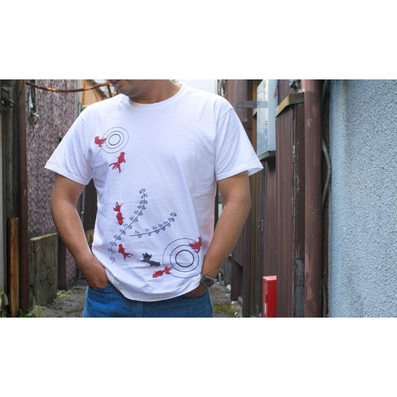 アウトレット・和柄Tシャツ-金魚-白色/Lサイズ/半袖/メンズ/レディース/ユニセックス japanesestandard 05