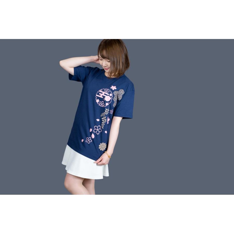和柄Tシャツ-枝垂れ桜-紺色/Mサイズ/半袖/レディース japanesestandard