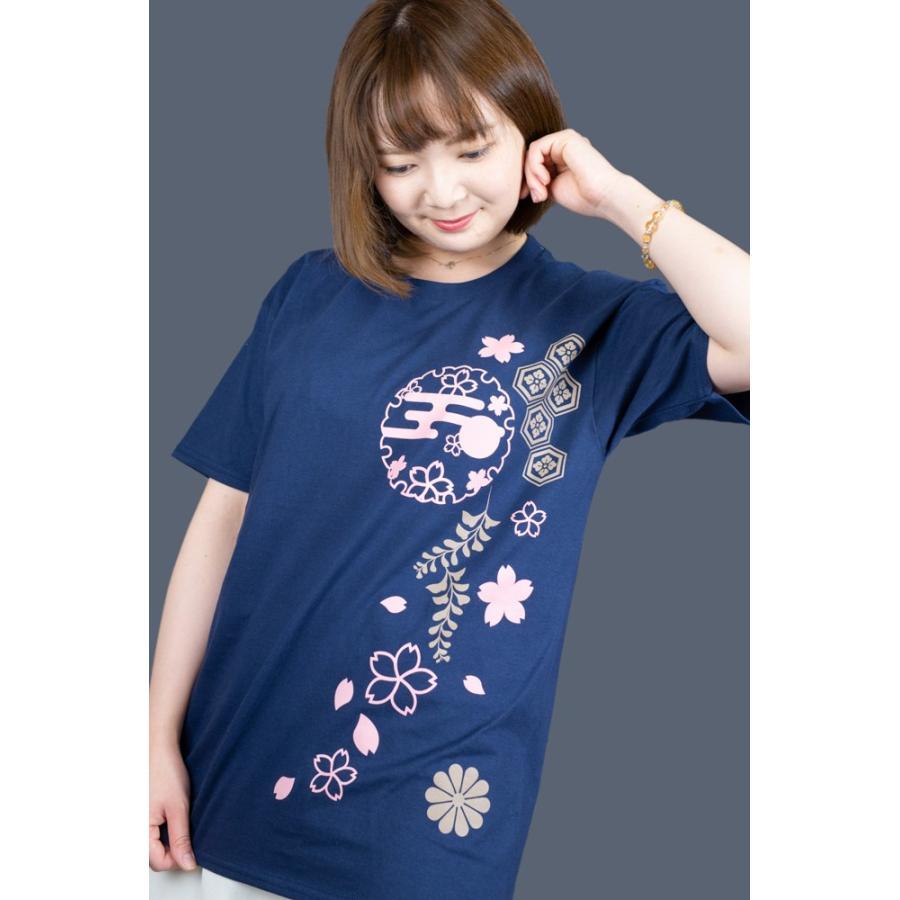 和柄Tシャツ-枝垂れ桜-紺色/Mサイズ/半袖/レディース japanesestandard 02