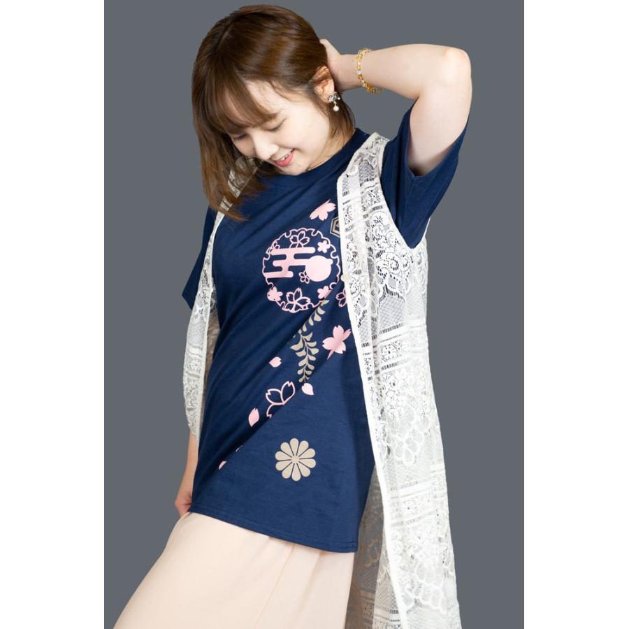和柄Tシャツ-枝垂れ桜-紺色/Mサイズ/半袖/レディース japanesestandard 03