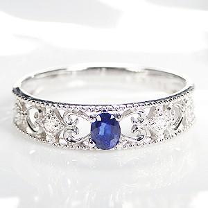 大人気新作 pt900 プラチナ 指輪 リング ダイヤモンド ダイヤ カラーストーン サファイア ミル打ち クラシカル CAR-0145, ニシカワマチ bc1dfca2