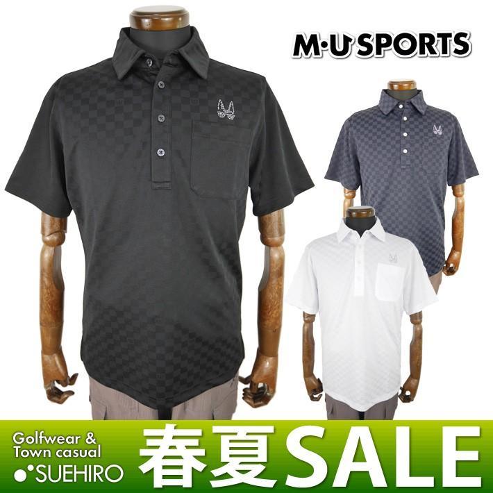 メール便・宅配便選択可 MUスポーツ ゴルフウェア 半袖ポロシャツ (M/L/LL寸:メンズ) 春夏 50%OFF/SALE