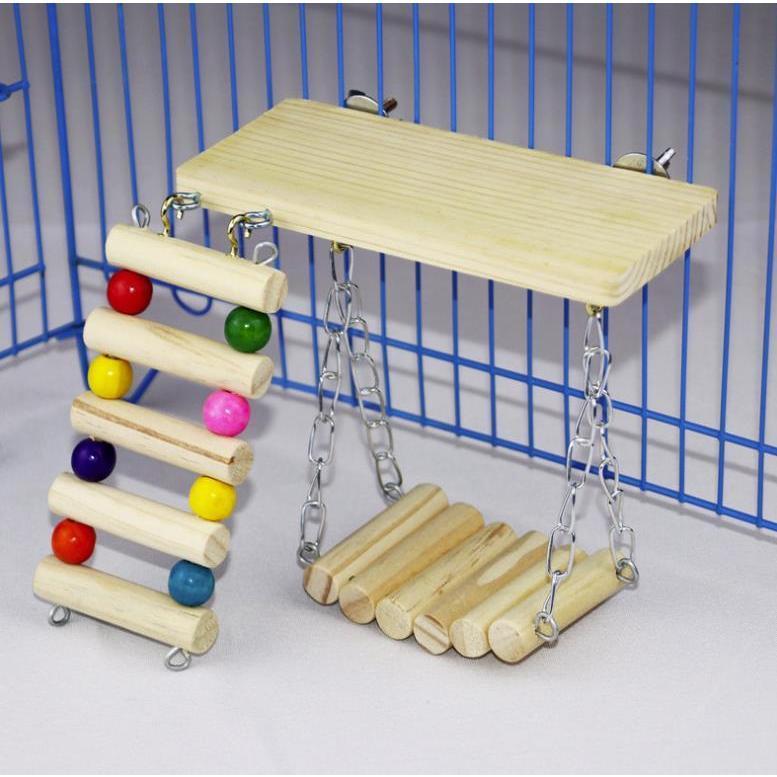 インコ 止まり木 とまり木 はしご おもちゃ 吊り下げ 鳥 ブランコ 木製 小鳥 ボール|jellykeystyle