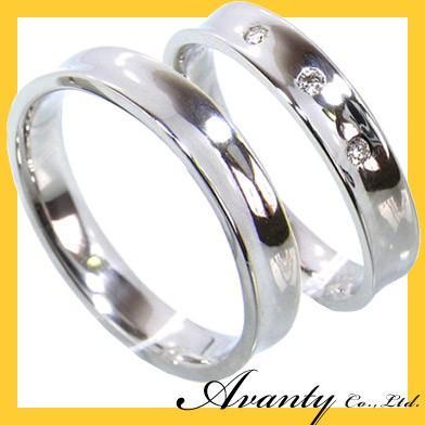 期間限定特別価格 刻印無料 2本セット プラチナマリッジリング結婚指輪 内反り スリーストーンダイヤ0.03ct プラチナ900 Pt900, 中津江村 6b448258