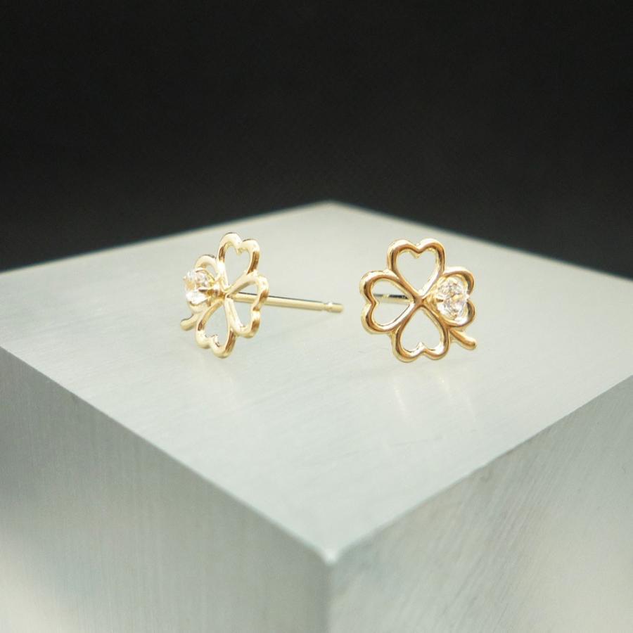 ピアス レディース 四つ葉 クローバー キュービックジルコニア (CZ) 10金 K10 jewelry-matumoto 02
