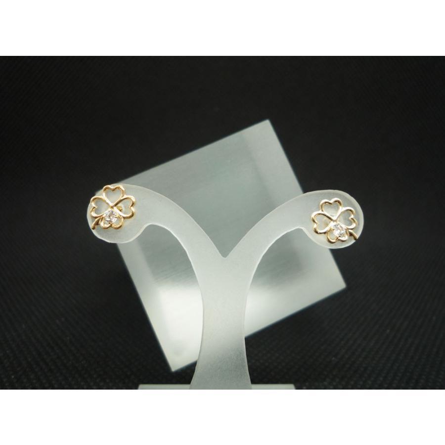 ピアス レディース 四つ葉 クローバー キュービックジルコニア (CZ) 10金 K10 jewelry-matumoto 03