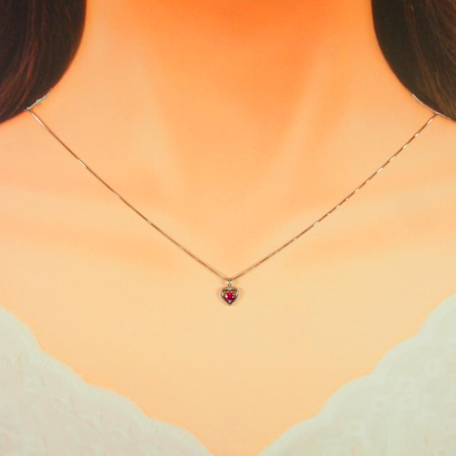 ネックレス レディース ルビー 7月 誕生石 18金ホワイトゴールド K18WG jewelry-matumoto 03