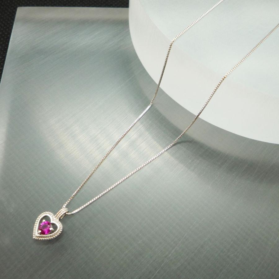 ネックレス レディース ルビー 7月 誕生石 18金ホワイトゴールド K18WG jewelry-matumoto 05