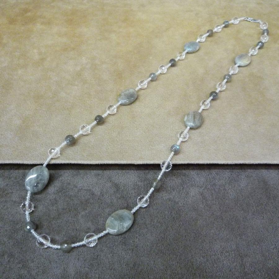 ネックレス レディース ラブラドライト ホワイトトパーズ かぶれる ロング jewelry-matumoto 02