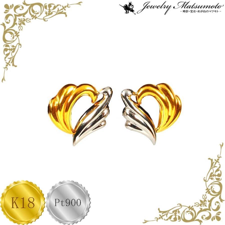イアリング レディース ハート クリップ イヤリング プラチナ・18金コンビ Pt900 K18 jewelry-matumoto
