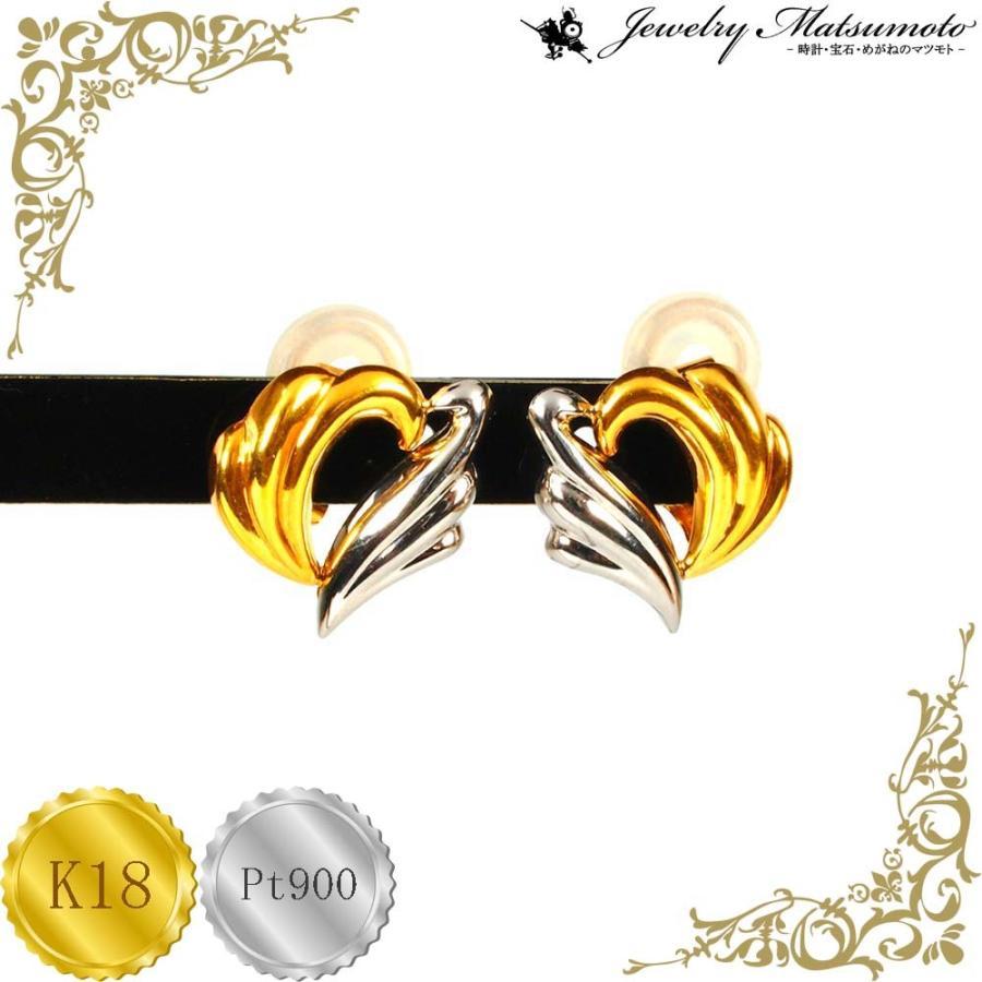 イアリング レディース ハート クリップ イヤリング プラチナ・18金コンビ Pt900 K18 jewelry-matumoto 02