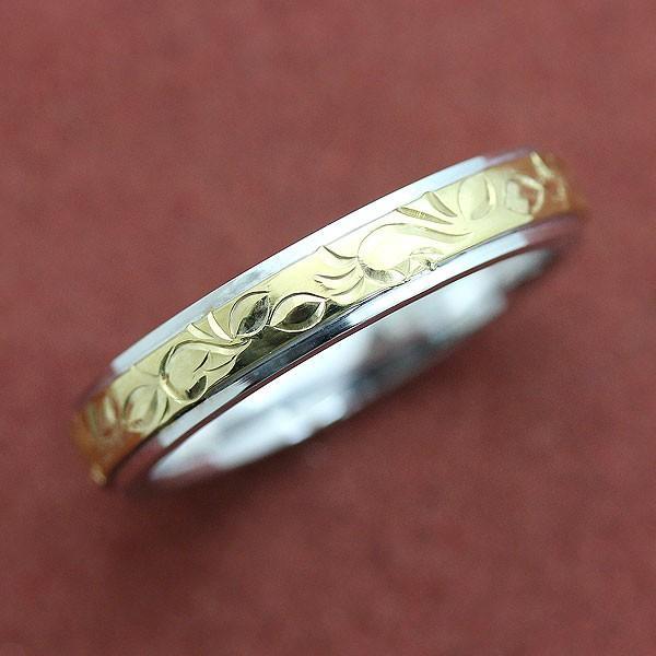 超格安価格 マリッジリング 結婚指輪 PT900/K18YG ハワイアンジュエリーコンビリング 手彫り彫刻リング メンズ, VOLTAGE ff88f314