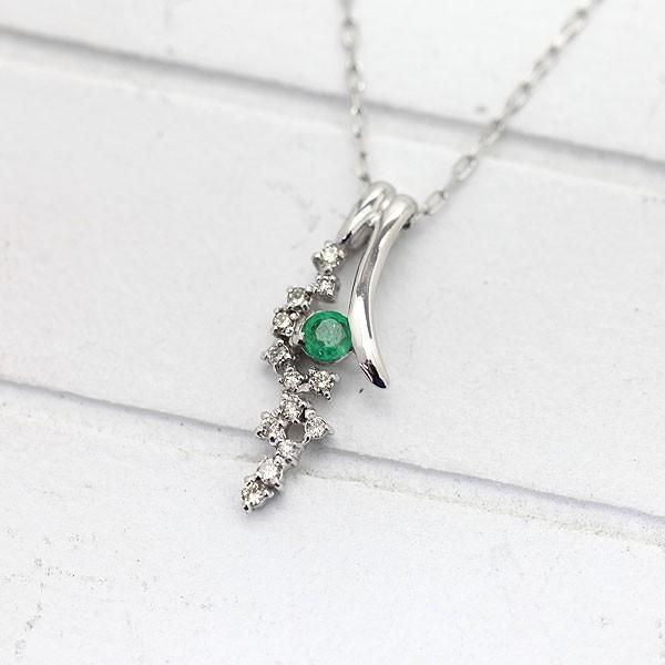 【海外 正規品】 K18WG エメラルド ダイヤモンド ペンダント ネックレス, ハリマチョウ 2aac67d6